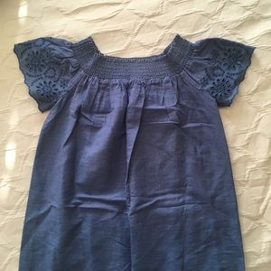 Chambray Off the Shoulder Eyelet Old Navy Dress